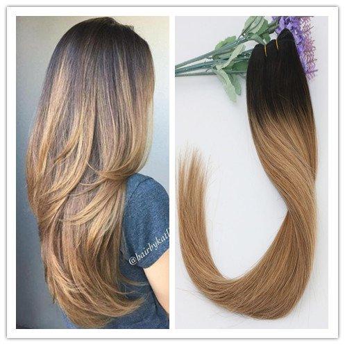 Balayage Off Black 2# Dégradé au brun foncé 6# Mélange avec blond fraise 27# 100 % cheveux humains Remay Trame de cheveux raides 100 g/lot (40,6 cm)