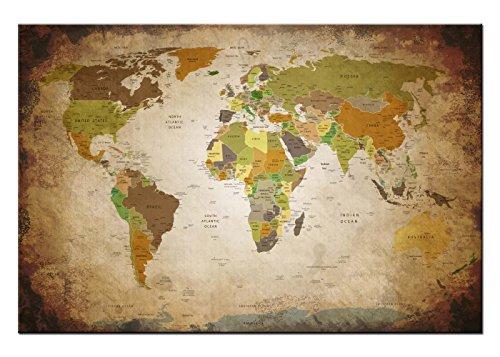 Dsign24 Weltkarte edel als Leinwandbild Wandbild 120 x 80 cm – Wanddeko, Kunstdruck, Keilrahmen Globus World ANTIK A05040