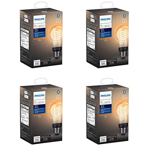 Philips Hue 551770-4 Smart Filament, 4 Pack, A19
