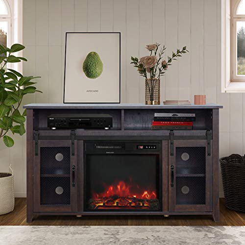 """ENSTVER TV Stand for TVs up to 55"""" with Electric Fireplace Included,Media Storage Television Console for Living Room (Espresso)"""