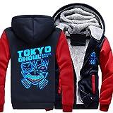 FAIBOO Hombres Hoodie Zipper - Tokyo Ghoul Imprimir Casual Winter Sudadera con Capucha Sudadera con Capucha Cálido De Manga Larga Chaquetas- Adolescente Regalo Navy Blue+Red-Medium