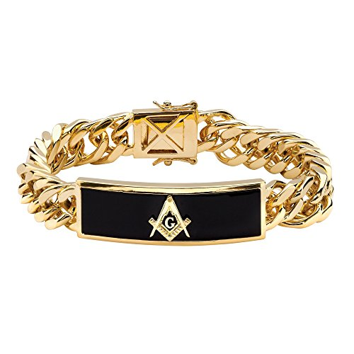 Palm Beach Jewelry Men's Gold-Plated Rectangular Shaped Natural Black Onyx, Masonic Link Bracelet (14.5mm), Box Clasp, 8 inches