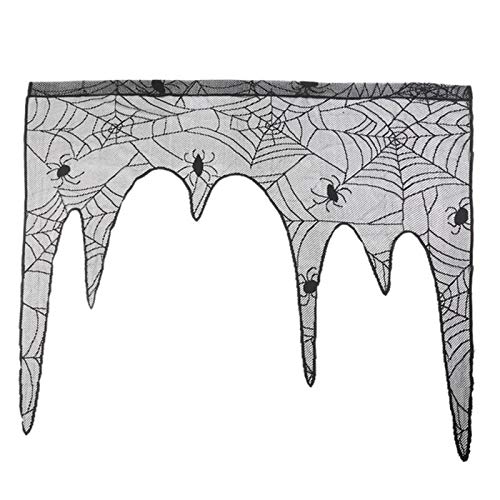 Party DIY Decoraties - Halloween Spider Kant Windom Gordijnen Tafel Runner Zwarte Lampenkap Open haard Gordijn Hallowmas Decor - Party Decoraties Party Decoraties Lace Runner Gordijn Rail