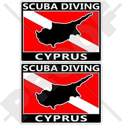 CYPRUS SCUBA Duiken Vlag-Cypriotische Kaart Vorm 75mm (3