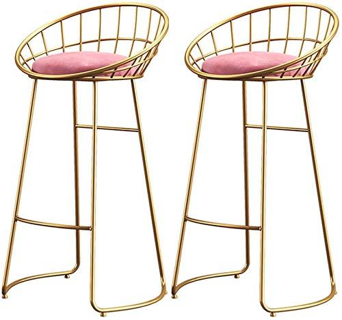 STOOL Schreibtischstühle , 2er-Set Barhocker Make-up Hocker Thekenstuhl für Küche Pub Café Frühstückssitz Höhe 65/70 / 75Cm Max. Zuladung 200Kg,Gold-1,65cm