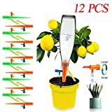 12pcs Plant Drip Irrigation,Plant Self Watering Devices with Anti-Tilt Anti-Down Bracket & Slow Release Control Valve Switch,Low Release Vacation Plant Spikes Watering System For Indoor and Outdoor