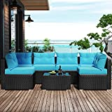 Amolife 7 Pieces Patio PE Rattan Sofa Chair Set Outdoor Sectional Furniture Black Wicker Conversation Set with Cushions and Tea Table