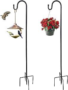 ZQK 48 Inch Shepherd Hook for Garden/Outdoor, Short Shepard Hook Heavy Duty for for Hummingbird Feeder Hanger Stand, Garden Lantern Pole (2 Packs)