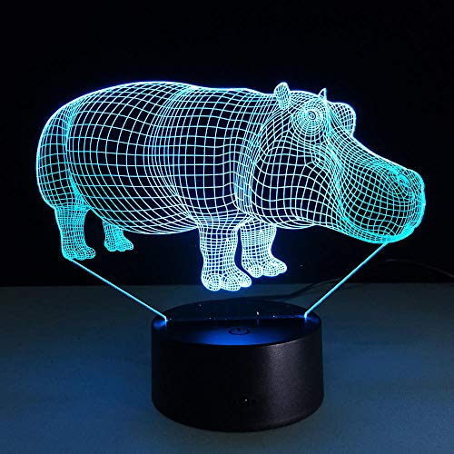 3D Led Nightlight Hippo Con 7 Colores Lámpara De Ambiente Para Decoración...