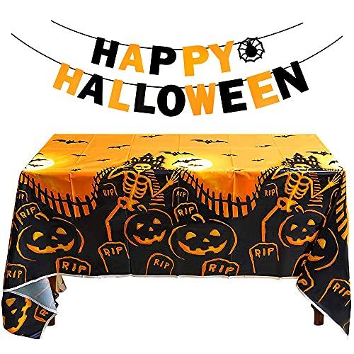 Aurasky Halloween Tischdecke Deko Kinder, Halloween Girlande Kinder, Halloween Banner, Gruseliger Kürbis Tischdekoration Halloween Dekoration Set für Haus, Tisch, Garten