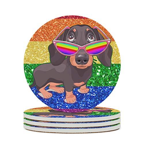 I Am Brave Bruised Dog Rainbow Coaster Sets Absorbente Copa redonda Coaster Cup Mat Trajes para Copa de vino Tazas para el hogar Cocina blanco 4pcs