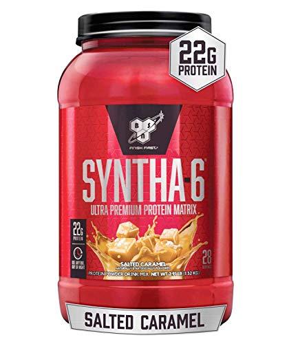 BSN SYNTHA-6 Whey Protein Powder, Micellar Casein, Milk Protein Isolate Powder, Salted Caramel, 28 Servings