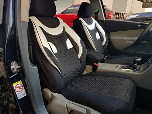 Sitzbezüge K-Maniac für Peugeot 206 | Universal schwarz-Weiss | Autositzbezüge Set Komplett | Autozubehör Innenraum | NO2026805 | Kfz Tuning | Sitzbezug | Sitzschoner