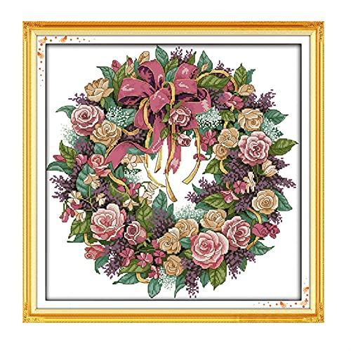 Punto de cruz, Puntada cruzada, guirnalda de rosa, pájaro y flor de la fragancia de la decoración de la decoración de la fragancia, kit de bordado auto-bordado ( Size : 14CT White cloth 45×45CM )