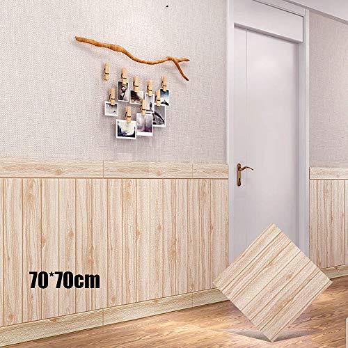 0.7x0.7M 3D Papel tapiz de ladrillo de grano de madera, Autoadhesivo 3D Ladrillo Piedra Espuma rústica DIY Etiqueta de la pared, Paquete suave Espuma impermeable Fondo de la habitación de los niños