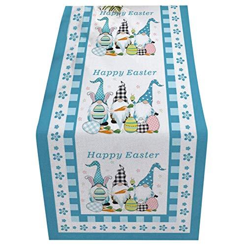 Camino de mesa de Pascua para decoración de Pascua, felices gnomos de conejo de Pascua y huevos rectangulares para cocina, comedor, boda