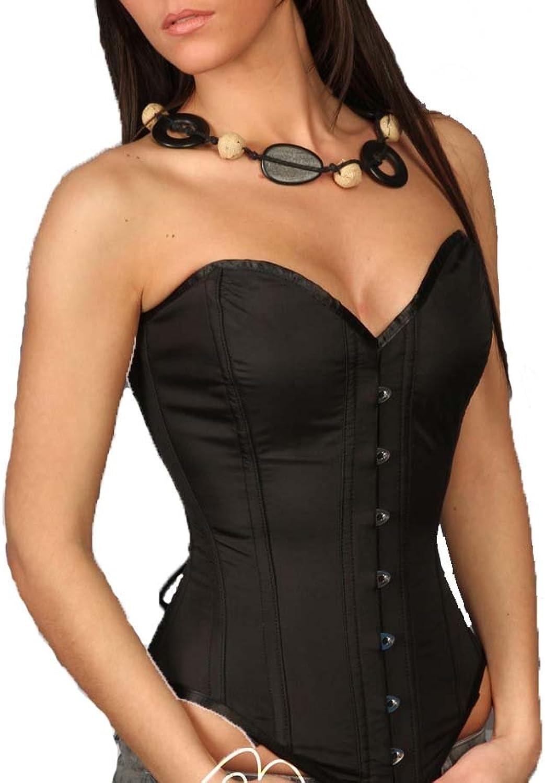 Black Satin Corset Dress Steel Boned Modesty Panels 1813 B
