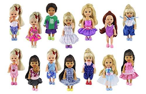 ZITA ELEMENT Ropa de Muñeca Pequeña Hecha a Mano 6 Piezas Moda Mini Vestido Encantador Vestido Traje para La Hermana Pequeña de Barbie Kelly Muñeca - Estilo Aleatorio