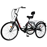 Adult Tricycles, 3 Wheel Bikes for Adults 20/24/26 inch 7 Speed Adult Trikes Bicycles Cruise Trike with Shopping Basket for Seniors, Women, Men