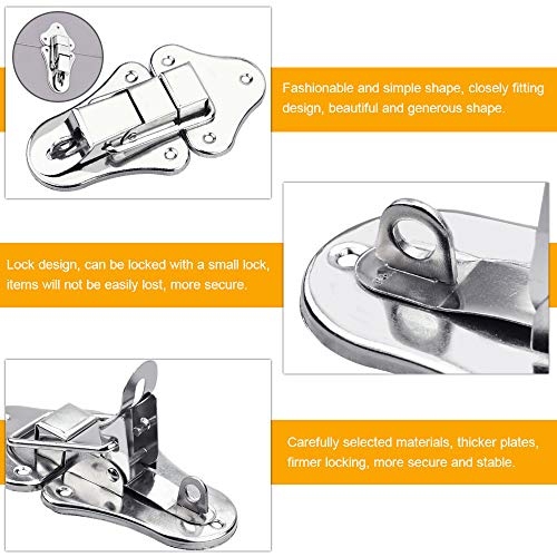 EMAGEREN 6 Pcs Lock Toggle Catch 94x52mm Toggle Latch Lock Catches Metal Lock Hasp Sturdy Buckle Clasps Catch Latch with 36 Screws for Suitcase Jewellery Wooden Box Toolbox