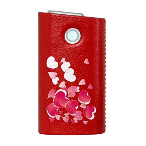 glo グロー グロウ 専用 レザーケース レザーカバー タバコ ケース カバー 合皮 ハードケース カバー 収納 デザイン 革 皮 RED レッド ラブリー ハート かわいい 001616