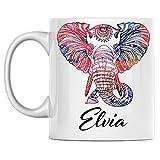 Tazza da caffè con elefante personale Nome Tazza da caffè in ceramica bianca Elvia stampata su entrambi i lati perfetta per il compleanno per lui, lei, ragazzo, ragazza, marito, moglie, uomini e donne