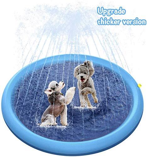 HFM Splash Sprinkler Pad, 59'Espesado Duradero Mascota Perro Baño Piscina Verano Al Aire Libre Agua Juguetes Rociadores Splash Play Mat