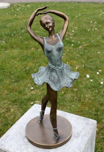 Unbekannt Figura de bronce bailarina – Decoración para casa y jardín – 15 x 40 x 15 cm
