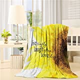 SIGOUYI Lightweight Fleece Blankets Reversible Throw Cozy Plush Microfiber All-Season Blanket for Bed/Couch - Throw 40x50 Inch, Sunflower Live Simply Laugh Often Love Deeply