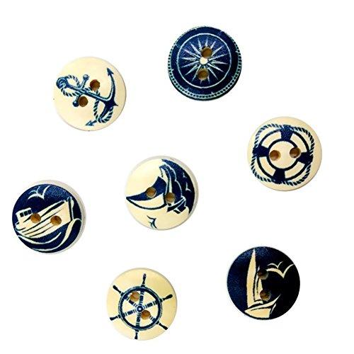 Da.Wa 100 botones de madera de 2 agujeros de 15 mm de la serie azul marino diseño de la hebilla de la camisa botones de la hebilla de los botones de la hebilla para manualidades, tejer, ropa de bebé