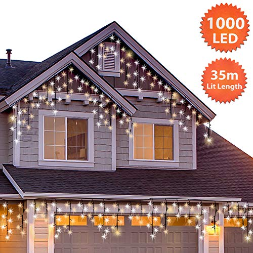 Christmas Icicle Lights Outdoor 1000 LED 35m/115ft Lit...