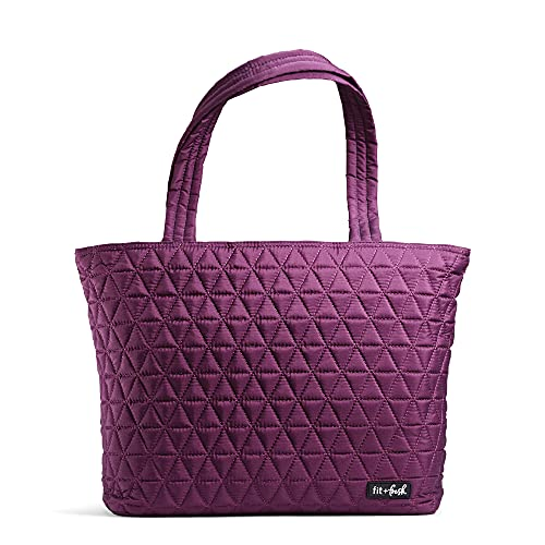 """Fit & Fresh Metro-Tote 2 in 1 Quilted 15"""" Laptop Bag with Insulated Lunch Compartment, Plum"""