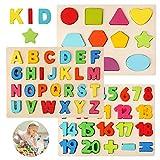 BelleStyle Puzzle in Legno, Multicolore Alfabeto ABC Lettere Numeri Forme in Legno Puzzle Tavoletta Manopola Montessori - Apprendimento Precoce Educativo Giocattoli Giochi Set per Bambini - 3 Pezzi