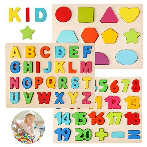 BelleStyle Puzzles de Madera, Colorido Alfabeto ABC Cartas Números Formas Madera Puzzles Rompecabezas Tablero Juego Jigsaw Bloques Juguetes Montessori - Temprano Juguete Educativo para Niños Bebé