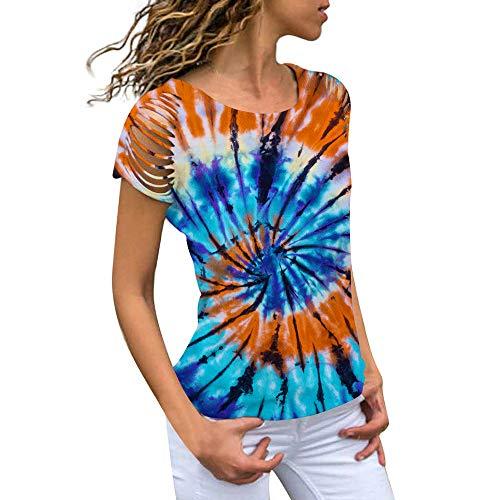 ZFQQ tie-dye Gradient 3D Digital Printing Women's Casual Short-Sleeved T-Shirt Fashion Round Neck top