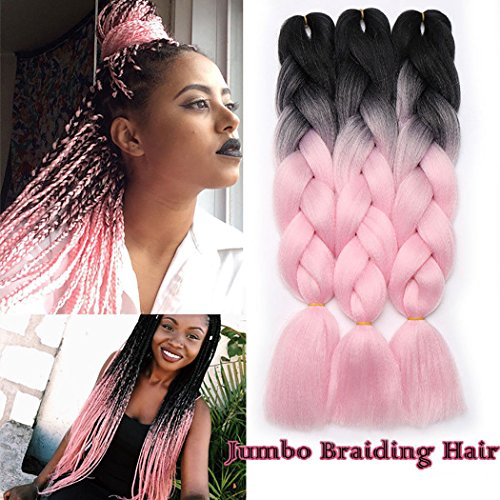 3 pcs/300g 60CM dos Ombre trenzado fibra Crochet Cabello Extensiones de pelo sintético trenzado Braids Extensiones de clip de pelo Natural Negro a rosa