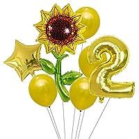 バルーン 7ピースひまわりローズフラワーパーティーバルーン誕生日装飾番号1 2 3バルーン子供誕生日パーティーベビーシャワー装飾グローバル (Color : Orange)
