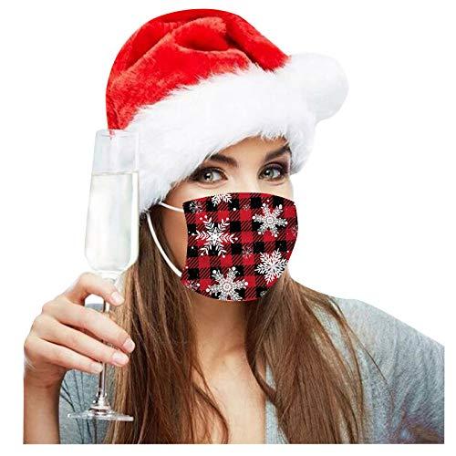 HEnri 10/50 Stück Weihnachten Schneeflocke Einmal-Maske Mundbedeckung Erwachsene 3-lagig Atmungsaktiv Mund und Nasenschutz Einweg Baumwolle Bandana Bedeckung Halstuch