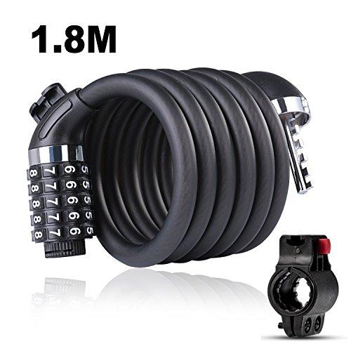 Fiets Lock Beveiliging 5 Digit Resettable Combinatie Kabel Sloten met Montagebeugel Fietsslot Kettingslot voor Fiets Motorfiets Scooter Grills Gate Hek Garage Glas Deurgereedschap 1.8m x 12mm (1.8M)