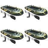 Intex Seahawk 4 Inflatable 4 Person Floating Boat Raft Set w/ Oars & Pump 4 Pack