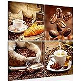 Bilder Küche Kaffee Wandbild 80 x 80 cm Vlies - Leinwand Bild XXL Format Wandbilder Wohnzimmer Wohnung Deko Kunstdrucke Braun 4 Teilig - MADE IN GERMANY - Fertig zum Aufhängen 504143a