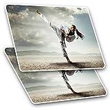 Impresionante pegatinas rectangulares (juego de 2) 10 cm – Karate Girl artes marciales Kick Fight Fun calcomanías para portátiles, tabletas, equipaje, libros de chatarra, neveras, regalo genial #21750