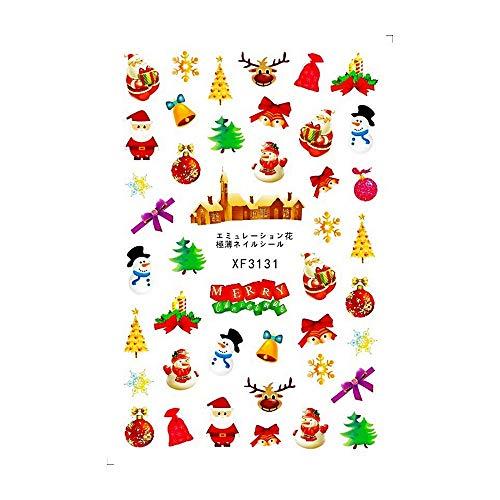 YUYOUG 1PC Stickers de Transfert de l'eau de Noël Nail Art Stickers Conseils manucure Flocon de Neige de Noël (B)