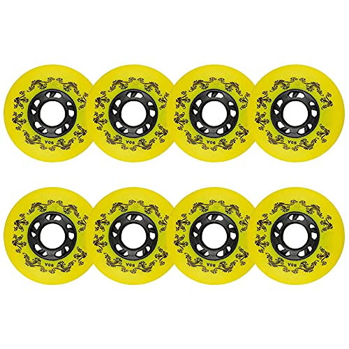 8 Stück Inlineskates Rollen 90A Roller Blades Ersatzrollen 72 mm/76 mm/80 mm Indoor Outdoor Hockey Inline Skates Rollen Gepäck Koffer Rollen (gelb, 4 x (76 mm + 80 mm)