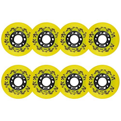 Paquete de 8 ruedas en línea de patines 90A Ruedas de repuesto 72 mm/76 mm/80 mm para interiores y exteriores, hockey en línea, ruedas para equipaje (amarillo, 4 x (76 mm + 80 mm)