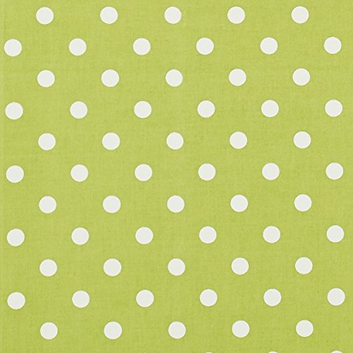 Vinylla - Tovaglia cerata in cotone rivestito in vinile, facile da pulire, a pois, colore: verde lime