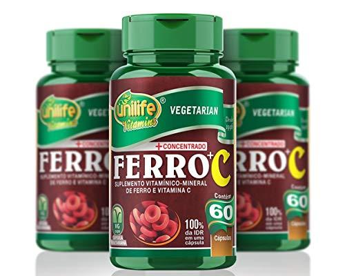 Kit 3 Ferro com Vitamina C Unilife 60 cápsulas