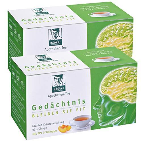 BADERs Apotheken-Tee Gedächtnis aus der Apotheke. Grüner Tee mit zusätzlichem Grüntee-Extrakt, Melisse und Ginkgo. Köstlicher Geschmack mit Pfirsicharoma. 2 x 20 Filterbeutel. PZN 001179490