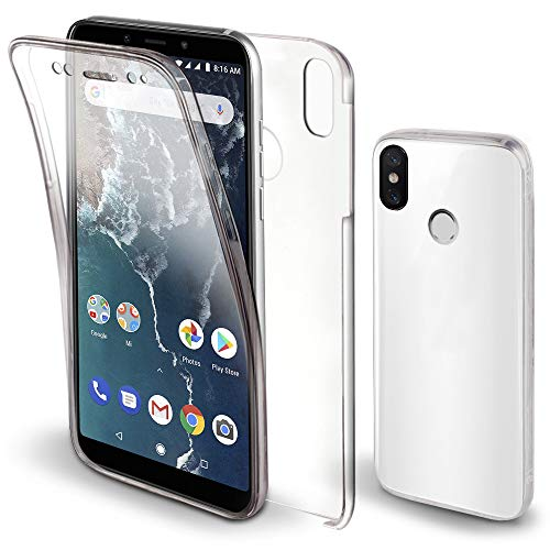 Moozy Funda 360 Grados para Xiaomi Mi A2 Transparente - Full Body Case Carcasa Cuerpo Completo - Parte Delantera de Silicona, Trasera de PC Duro