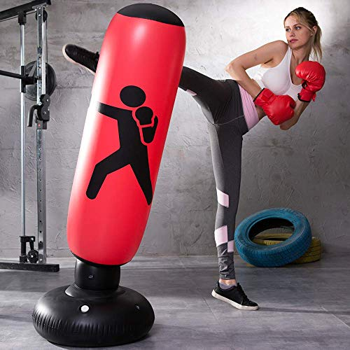 Inflatable Free Standing Punching Bag, Heavy Training Bag, Adults Teenage Fitness Sport Stress Relief Boxing Target (Red)